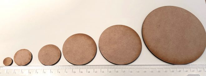 Round Miniature Bases - MDF Round Bases for Tabletop RPG and Wargaming Games